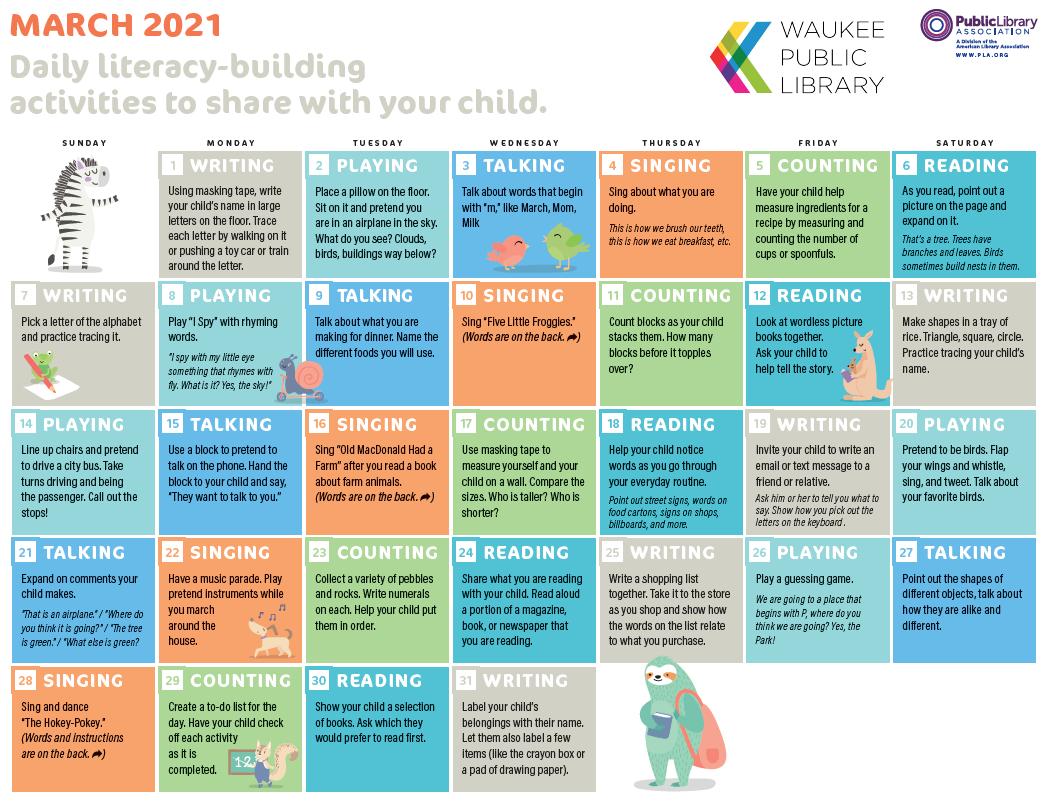 March 2021 Early Literacy Calendar