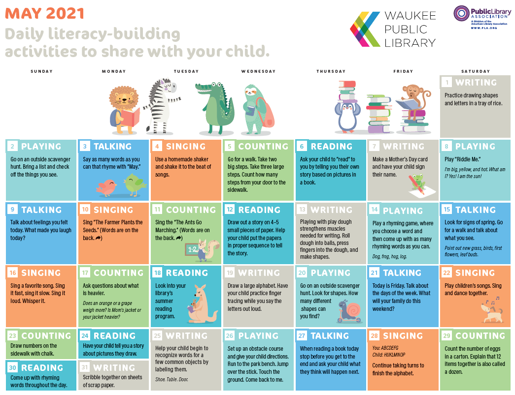Image of May Early Literacy Calendar